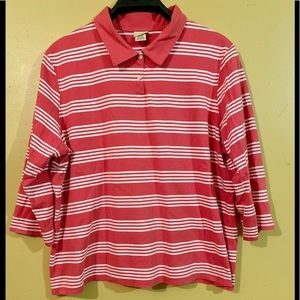 L.L. Bean Woman's Red Striped 3/4 Sleeve Polo Xl